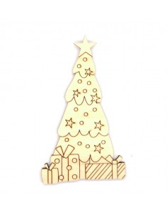 Silueta madera Árbol Navidad