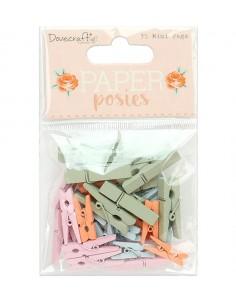 Pinzas madera Paper posies