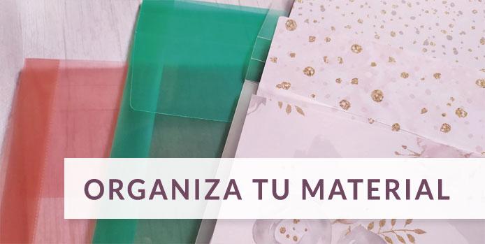 Fundas y cajas para organizar material de scrap